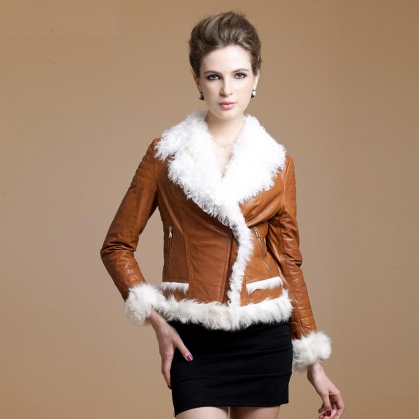 Leather Coat with Faux Fur Collar