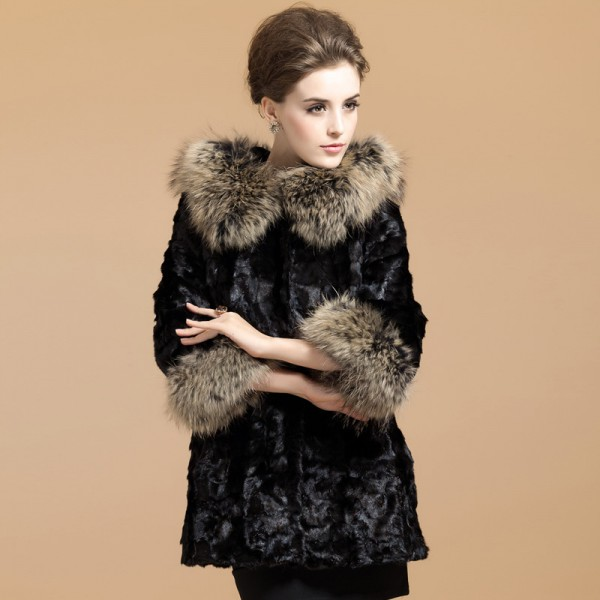 Black Faux Fur with Collar